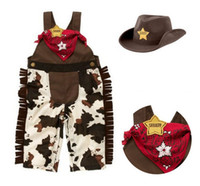 Wholesale Spring Baby Toddler Clothes Classic Cowboy Modelling Suspender Trousers Cap Scarf Boys Set Baby Romper Suits Outfits J4131 BJ