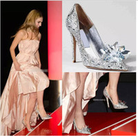 Wholesale 2015 Cinderella Heroine Lily James High Heels Silver Pumps Beaded Formal Occasion High Heel Shoes Rhinestone Ponited Toe Wedding Shoes