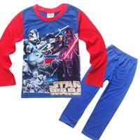 Spring/Autumn pajama - 2016 Kids boys Star Wars Long sleeve top pants spring pajama set sleepwear cotton pyjamas sets designs
