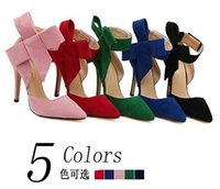 black heel bow - Sexy Lady Evening Spring Royal Blue Red Black Big Bow Tie genuine leather Pumps Pointed Toe Plus Size High Heel Shoes For Women