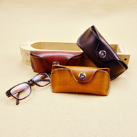 Wholesale New High Quality Vintage Handmade Genuine Vegetable Tanned Leather Cowhide Glasses Case Holder Box Cases Bags For Men Women