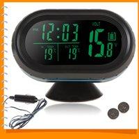 Wholesale 12V V Digital Auto Car Thermometer Car Battery Voltmeter Voltage Meter Tester Monitor Noctilucous Clock Freeze Alert