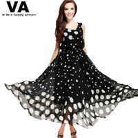 big polka dots - Big Plus Size XXXL Clothes Women Summer Maxi Long Dresses Casual Polka Dot Printed Sleeveless Woman Chiffon Dress P00069