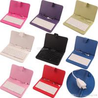 al por mayor ipad3 teclado casos-Funda de piel universal con teclado USB Micro USB tirón la caja de cuero protectora de la cubierta de la tableta para HP Slate 7 7 '' 7inch Caso 8 colores