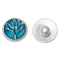 Wholesale Fashion Snap Button Round Silver Tone Fit Bracelets Enamel Blue Rhinestone Tree mm Dia Knob Size mm new