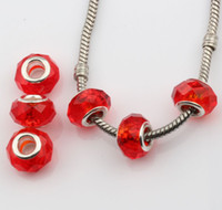 Wholesale Hotl Red Faceted Crystal Glass Big Hole Beads Fit Charm Bracelets DIY Jewelry