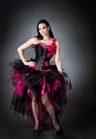 Wholesale Exaggeration Black and Fuchsia Ball Gown Hi Lo Wedding Dresses Vintage Victorian Strapless Tulle Halloween Party Corset Bridal Gowns