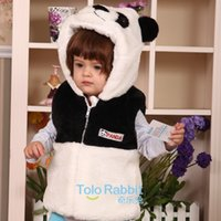 authentic costumes - 2016 Special Offer Rushed Girls Vest Baby Vest with A Hood Cute Jacket Panda Costume baby Fur Clothes Authentic Three dimensional Rabbit