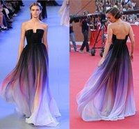 Wholesale 2016 Cheap Vestidos Elie Saab Gradient Ombre Chiffon Evening Dresses Strapless Pleats Lily Collins Party Gowns Prom Dress Long CPS173