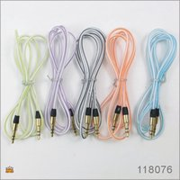 Wholesale 1M FT mm Clear Candy Color Car Aux audio Cable Extended Audio Auxiliary Cable for iPhone plus Samsung Galaxy Note