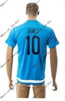 2015-16 Colombia # 10 de formación JAMES azul Soccer Jersey Tailandia Calidad Soccer Jerseys Fútbol barato personalizada Fútbol Aceptar orden de la mezcla