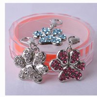Wholesale Paw Shaped Dog Accessories Rhinestone Jewerly Pendent Collar Charm Pet Products For Animals