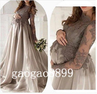 dresses for pregnant women - New Arrival Gray Silver Lace Organza Long Sleeve Evening Dresses maternity For Pregnant Women Custom Make Elegant Dubai Arabic Dresses Prom