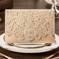 embossed wedding invitations - Customizable Gold Laser Cut Wedding Invitation Card with Embossed Flower Design CW072 with Envelope
