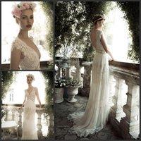 Wholesale 2014 Elegant Lihi V neck Column Lace Applique Beading Sash Empire Waist Backless Bridal Gowns Cap sleeves Sweep Train Wedding Dresses