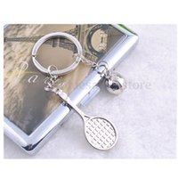 ball chain curtains - Silver D Tennis Ball Racket Pendant Souvenir Sports Keychain Keyring Chain Gift