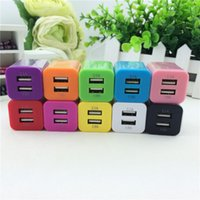 Wholesale 2 A Square US EU Plug Dual USB Charger AC Adapter port colorful wall charger for all mobile phones iPhone Samsung HTC