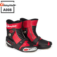 Wholesale New Motorcycle short Boots Moto Racing Motocross Motorbike Shoes RIDING TRIBE A008 Black White Red