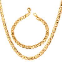 american snails - Men s Jewelry K Stamp Chunky Snail Chain Necklace Bracelet Set Trendy K Gold Plated MM CM MGC NH750