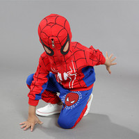 activewear wholesale - DHL Spiderman outfit Activewear hoodie jacket pant long sleeve T shirt suit set halloween cosplay costume baby Clothing color E035