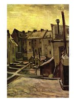 Oil Painting backyard landscapes - Famous artwork Vincent Van Gogh oil Painting Reproduction Backyards of Old Houses In Antwerp In The Snow Hand painted High quality