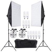 Wholesale Photo Studio Video Lighting Kit Photography Lighting Stand Two Softbox Studio Soft Box Ten Bulbs Two Light Holder Set D1670