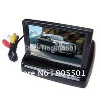 Cheap Free Shipping 4.3'' Foldable TFT LCD Wireless Car Back Up Rearview Camera Kits Reverse Sensor parking kit M19220
