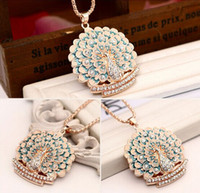 Wholesale 2014 new sweater chain K gold peacock Pendant Necklace high grade long section of fashion jewelry