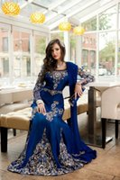indian dresses - Hot Evening Dresses Royal Blue Designer Diamond Crystals Beaded Formal Dress Long Sleeves Indian Sexy Dresses abaya evening gowns MQ