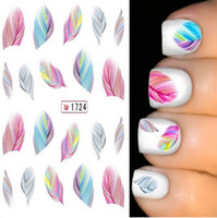 Wholesale Beauty Water Transfer Stickers Nail Art Tips DIY Feather Decals Rainbow Dreams