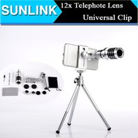 Wholesale Universal Clip x Zoom Optical Telescope Camera in1 Telephoto Lens Fish Eye Wide Angle Macro Lens With Tripod Holder for iPhone HTC