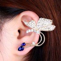 Wholesale Fashion Jewelry Elegant Alloy Butterfly Shape Ear Clip Stud Earrings Women ear Cuff clip on Earrings H13816