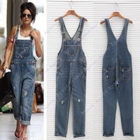 overalls - 2015 New fashion Women Ladies Baggy Denim Jeans Full Length Pinafore Dungaree Overall Jumpsuit SV005721