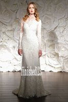 Wholesale Charming Sweetheart A Line Wedding Dresses Long sleeve Lace Applique Crystals Chapel Train Bridal Gowns Custom Made NO