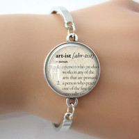artist gift sets - Artist Bangle Dictionary Words Fashion Phrase Quote Art Personalized Bracelet plated silver Bangle Jewelry For Gift G019