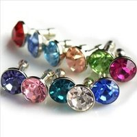 Wholesale 200 Bling Diamond Gem Cap Earphone Jack Anti Dust Plug mm Universal Plug mix colors