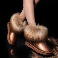 ankle pads - 2015 Women Ankle Boots Winter Boots Snow Boots Fox Fur Thickening Cotton Padded Shoes Colors for choices