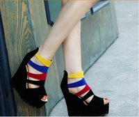 Cheap Fish head shoes women new high-heeled platform shoes increased heavy-bottomed waterproof sandals Korean version of the Spring & Autumn boots