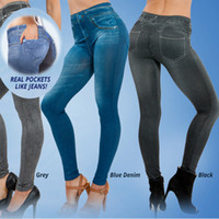 Wholesale Hot sale women s slim denim leggings blue and black jean girls jeggings with real pockets sport leggings