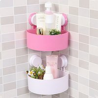 Wholesale 1pcs Plastic Bathroom Shelf Wall Corner Holder Suction Home Kitchen Storage Shower Shelf White Green Blue Rose Red