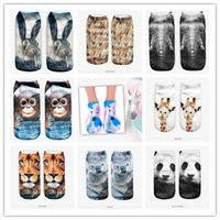 animal mole - D digital printed socks Unisex Low Cut Ankle animals the elephant bear tiger lion monkdy squirrel penguin mole giraffe fish