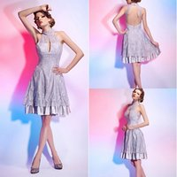 ball stretching pictures - 2015 A line High Neck Knee length Lace Over Stretch Satin Cocktail Dresses Crystal Prom Dresses Special Occasion Prom Party Dresses