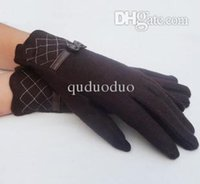 Wholesale new fishing glove Women autumn and winter gloves warm mittens cute bow full finger wool gloves us313