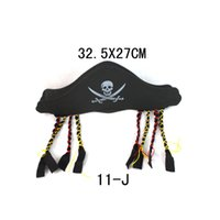 Wholesale Halloween Props Bandanna Cap Flat Pirate Hat Pirates of the Caribbean Captain Hat Skeleton Pirates Hat With Pigtail