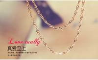 al por mayor clave valentín-18K chapado en oro rosa de cadena de onda 18inch 1,2 mm colgante clave retro fábrica de joyas al por mayor de San Valentín accesorios sencillos para enviar novia