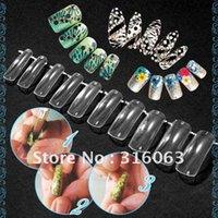 Gros-100pcs de transport / ensemble clair double système Nail formulaire UV Acrylique Gel Nail Mold Faux ongles Astuce Avec Box NA300