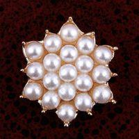 achat en gros de boutons hexagonaux-30pcs / Lot Vente chaude 18MM Vintage Lotus fleur perle alliage Flatback embellissement boutons Hexagonal Décorations Bow Bow