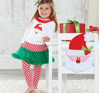 pettiskirt set - 2014 hot girls christmas outfits sets TUTU dress baby pettiskirt cotton long sleeve girl Christmas shirt and pant children clothing set