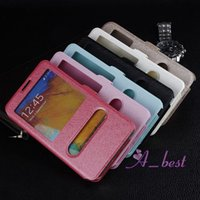 Cheap For Galaxy Note 3 Silk Leather Case Wallet Book Flip w  Double Window For Samsung Note3 N9000 Leather Bag Cases