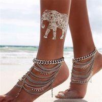 Wholesale New Arrival Chic Women Metal Multi Tassels Chain Crystal Beach Anklet Bracelet Foot Jewelry